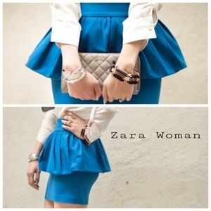 Zara Blue Peplum Mini Skirt Sz M